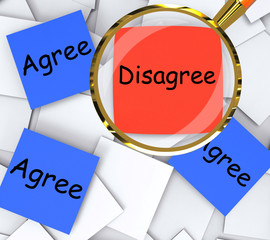 Agree Disagree Post-It Papers Mean Agreeing Or Opposing