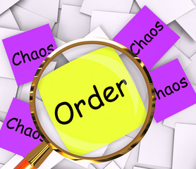 Order Chaos Post-It Papers Show Organized Or Confused