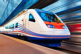 Modern high speed train with motion blur poster