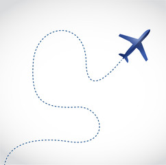 fly routes and airplane. illustration design