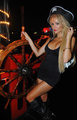 Model  poses sexy at Pirates boat wearing carnival costume