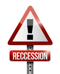 recession warning sign illustration design