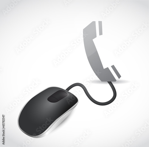 mouse and telephone illustration design