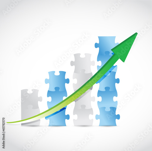 puzzle pieces arrow graph illustration design