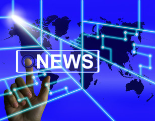 News Screen Shows Worldwide Newspaper or Media Information