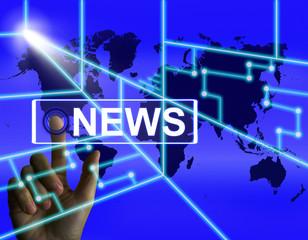 News Screen Shows Worldwide Newspaper or Media Information