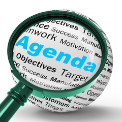 Agenda Magnifier Definition Means Schedule Planner Or Reminder
