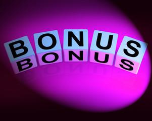 Bonus Dice Indicate Promotional Gratuity Benefits and Bonuses