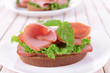 Delicious sandwich with lettuce and ham