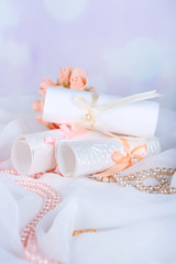 Beautiful handmade wedding cards on light background