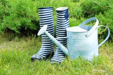 Rubber boots with watering can on grass - gardening concept