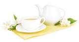 Cup of tea with jasmine isolated on white © Africa Studio