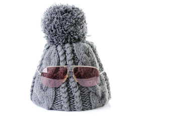 winter hat with sun glasses