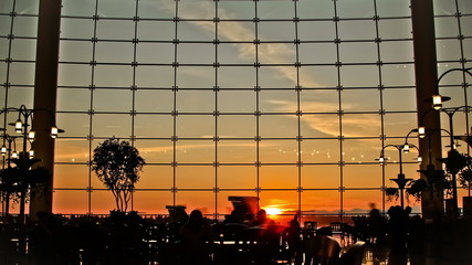 Airport Travelers Time Lapse People Silhouette Sunset