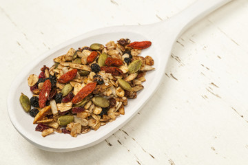 Homemade granola in spoon