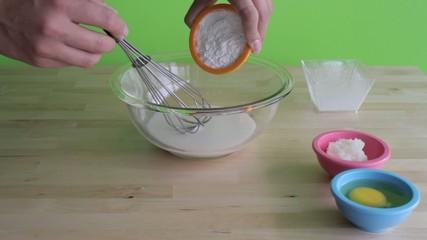Preparing a cake mix