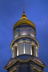 Belfry of Cathedral of the Assumption at night.