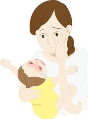 母親と泣く乳児