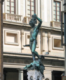 Perseus holding the head of Medusa. Statue by  Benvenuto Cellini poster