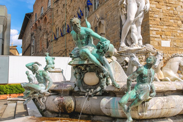 Fragment of Neptune fountain on Piazza della Signoria, Florence