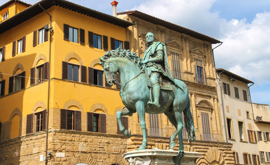 Equestrian statue of Cosimo de 'Medici. Florence, Italy