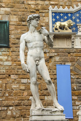 Statue of Michelangelo's David near the museum Palazzo Vecchio