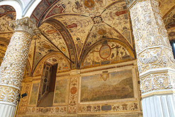 Frescoes decorating the courtyard Palazzo Vecchio. Florence, Ita