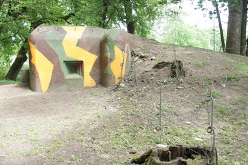 Reconstruct bunker on border between Czech republic and Austria