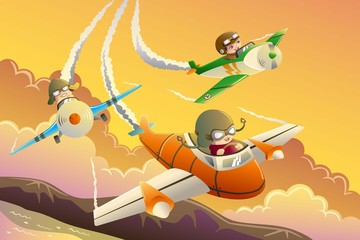 Kids in an airplane race © artisticco