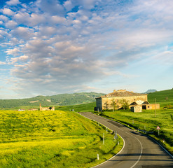 Tuscany - Landscape panorama, hills, meadow and old farm, Toscan
