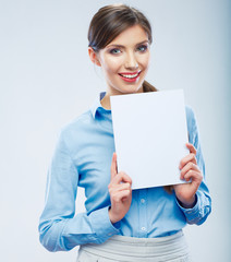 Business woman hold banner, white background isolated   portrai