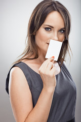 Woman hold business card