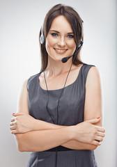 Operator call center. Customer service smiling  woman.