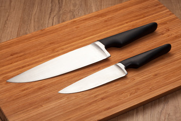 Knives on cutting board