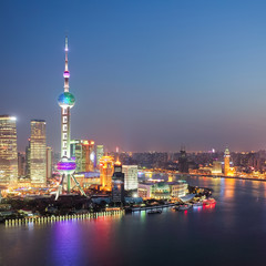 the beautiful night view in shanghai