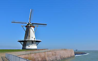 Traditional holland windmill in Vlissingen, Netherlands