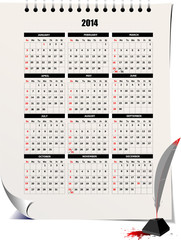 2014 calendar with pencil image. Vector illustration