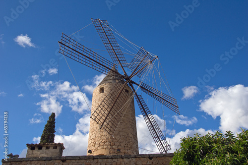 canvas print picture Windmühle in Mallorca