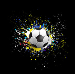 soccer ball dash on colorful & grunge texture isolate on black