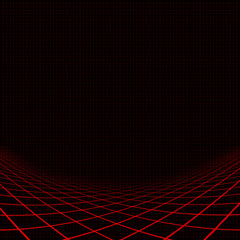 Background with red curvy grid