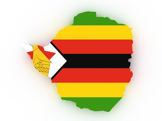3D map of Zimbabwe filled with flag of the state