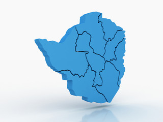 High detailed map Zimbabwe 3D