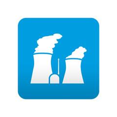 Etiqueta tipo app azul simbolo central nuclear