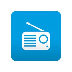 Etiqueta tipo app azul simbolo receptor de radio