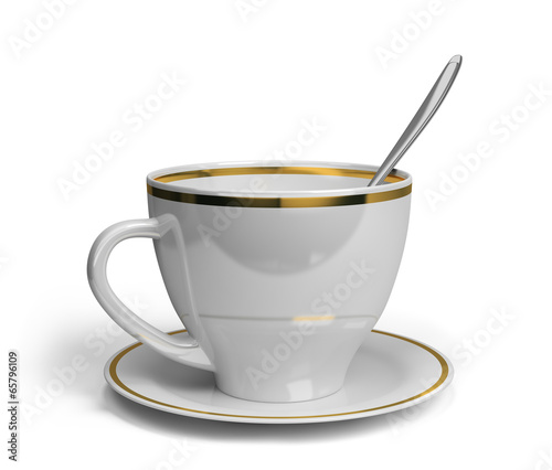 Cup, saucer and spoon