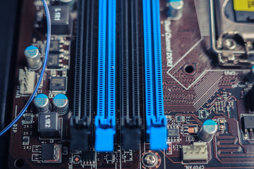 Slots on a computer motherboard