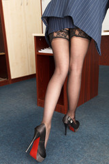 Provocative young secretary with long legs