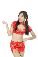 Asian woman dress traditional cheongsam and introduce