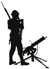 First World War soldier with mashine gun vector silhouette.