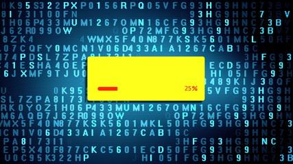 Data transfer process on computer screen